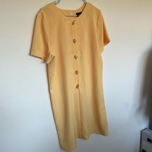Vintage yellow dress with wooden buttons